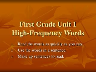 First Grade Unit 1 High-Frequency Words