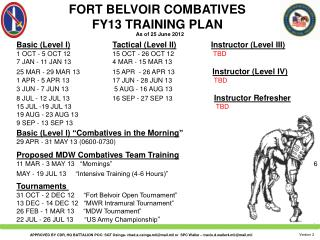 FORT BELVOIR COMBATIVES FY13 TRAINING PLAN