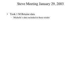 Steve Meeting January 29, 2003