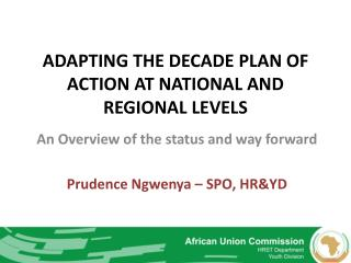 ADAPTING THE DECADE PLAN OF ACTION AT NATIONAL AND REGIONAL LEVELS