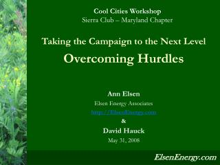 Taking the Campaign to the Next Level Overcoming Hurdles  Ann Elsen Elsen Energy Associates