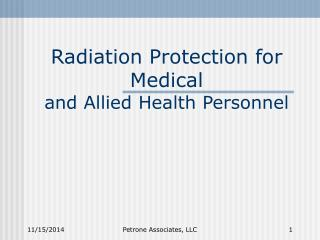 Radiation Protection for Medical and Allied Health Personnel