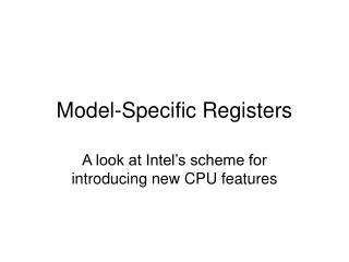Model-Specific Registers