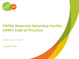 DEFRA Materials Recycling Facility  (MRF) Code of Practice