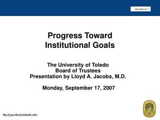 Progress Toward Institutional Goals