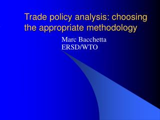Trade policy analysis: choosing the appropriate methodology