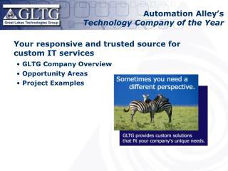 Your responsive and trusted source for custom IT services GLTG Company Overview Opportunity Areas