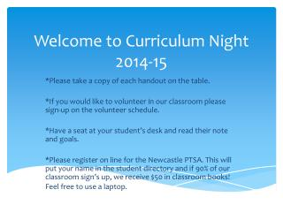 Welcome to  Curriculum  Night 2014-15