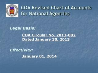 COA Revised Chart of Accounts for National Agencies