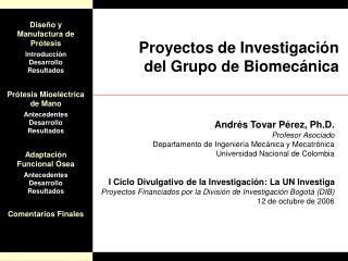Proyectos de Investigaci n del Grupo de Biomec nica