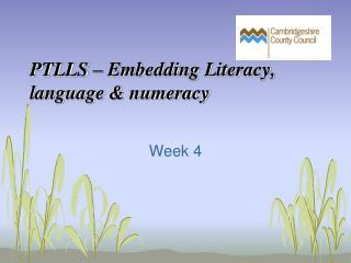 PTLLS � Embedding Literacy, language & numeracy