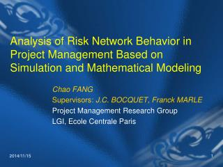 Chao FANG Supervisors:  J.C. BOCQUET, Franck MARLE  Project Management Research Group