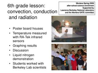 6th grade lesson: convection, conduction  and radiation