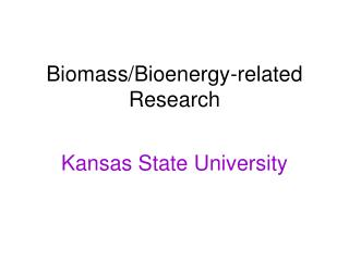 Biomass/Bioenergy-related Research