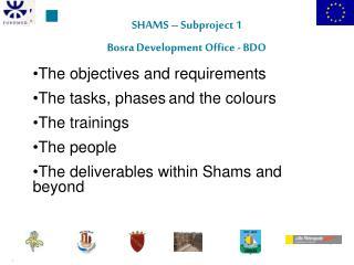 SHAMS – Subproject 1 Bosra Development Office - BDO