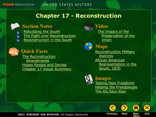 Chapter 17 - Reconstruction