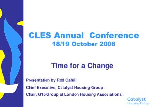 CLES Annual  Conference 18/19 October 2006