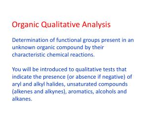 Organic Qualitative Analysis