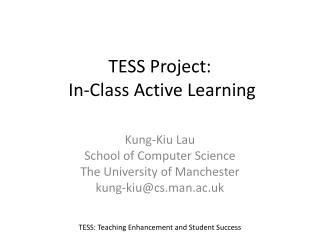 TESS Project:  In-Class Active Learning