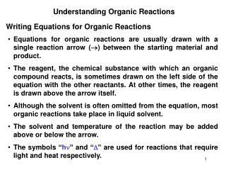 Understanding Organic Reactions