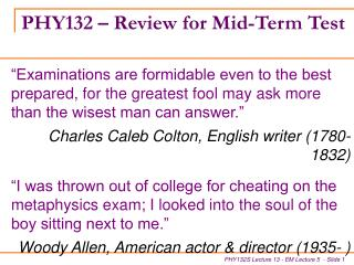 PHY132   Review for Mid-Term Test
