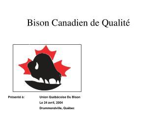 Bison Canadien de Qualit�