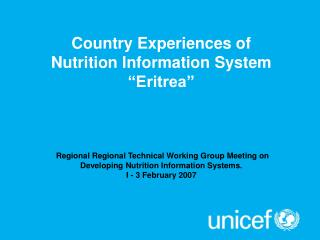Regional  Regional Technical Working Group Meeting on Developing Nutrition Information Systems.