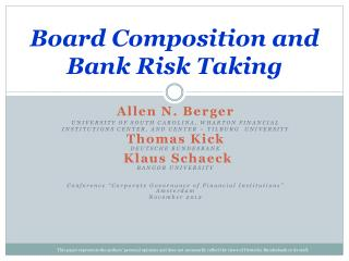 Board Composition and Bank Risk Taking