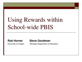 Using Rewards within School-wide PBIS