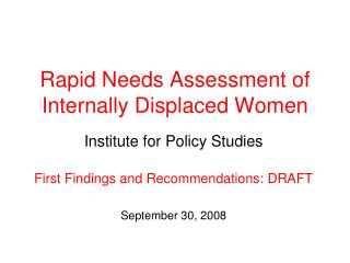 Rapid Needs Assessment of Internally Displaced Women