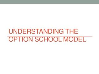 Understanding the  Option School Model