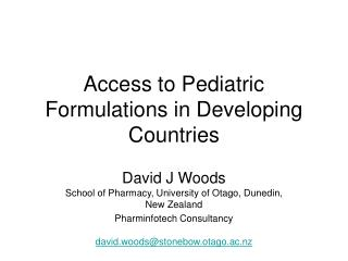 Access to Pediatric Formulations in Developing Countries
