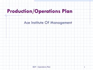 Production/Operations Plan