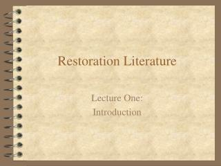 Restoration Literature