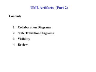 UML Artifacts  (Part 2)