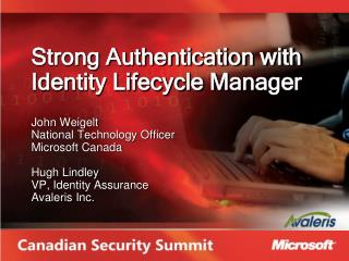 Strong Authentication with Identity Lifecycle Manager