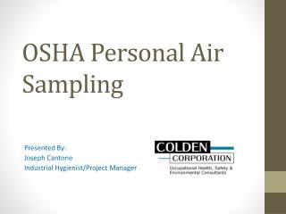 OSHA Personal Air Sampling