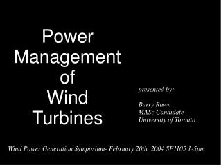Power Management of Wind  Turbines