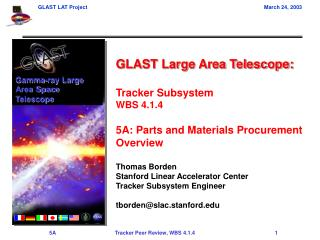 GLAST Large Area Telescope: Tracker Subsystem WBS 4.1.4