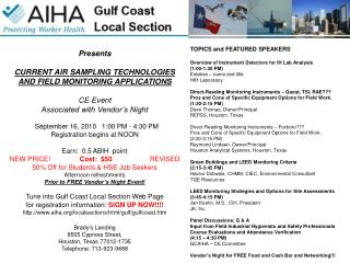 Presents CURRENT AIR SAMPLING TECHNOLOGIES AND FIELD MONITORING APPLICATIONS CE Event