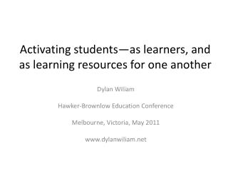 Activating students—as learners, and as learning resources for one another