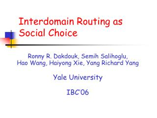 Interdomain Routing as   Social Choice