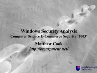 Windows Security Analysis Computer Science E-Commerce Security '2003'