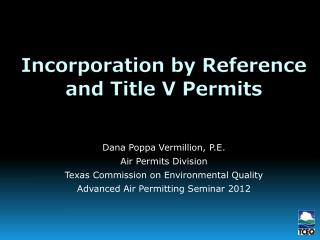 Incorporation by Reference and Title V Permits