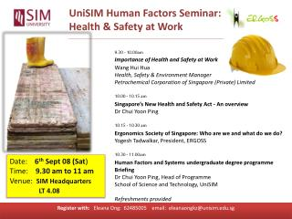 UniSIM Human Factors Seminar: Health & Safety at Work