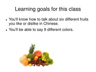 Learning goals for this class