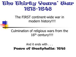 The Thirty Years� War 1618-1648