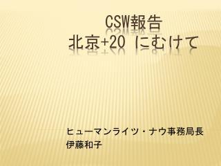 CSW 報告  北京 +20  にむけて