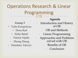 Operations Research & Linear Programming