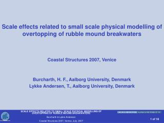 Scale effects related to small scale physical modelling of overtopping of rubble mound breakwaters